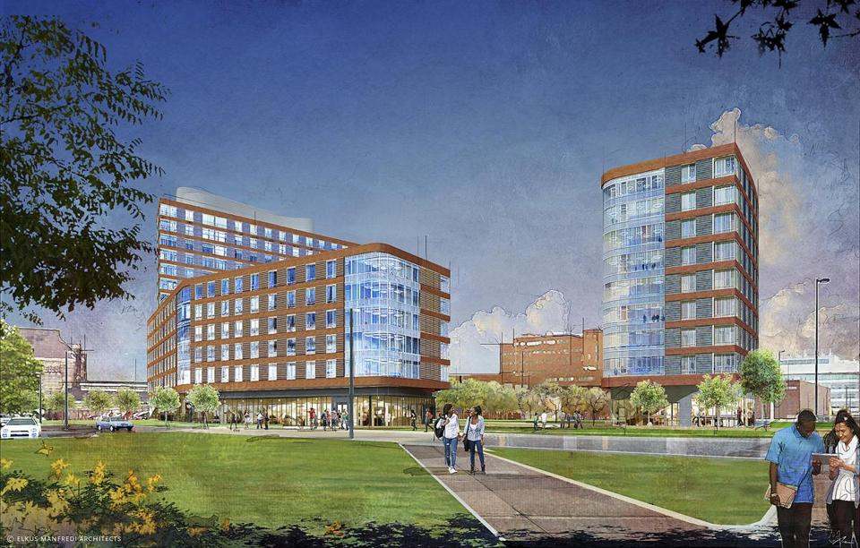 The Boston campus plans to open a dorm next year. Above: A previous rendering of the project.