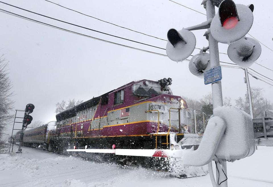 A Newburyport-bound MBTA commuter rail train out of Boston pulled in to the station in Rowley, Mass., earlier this month.