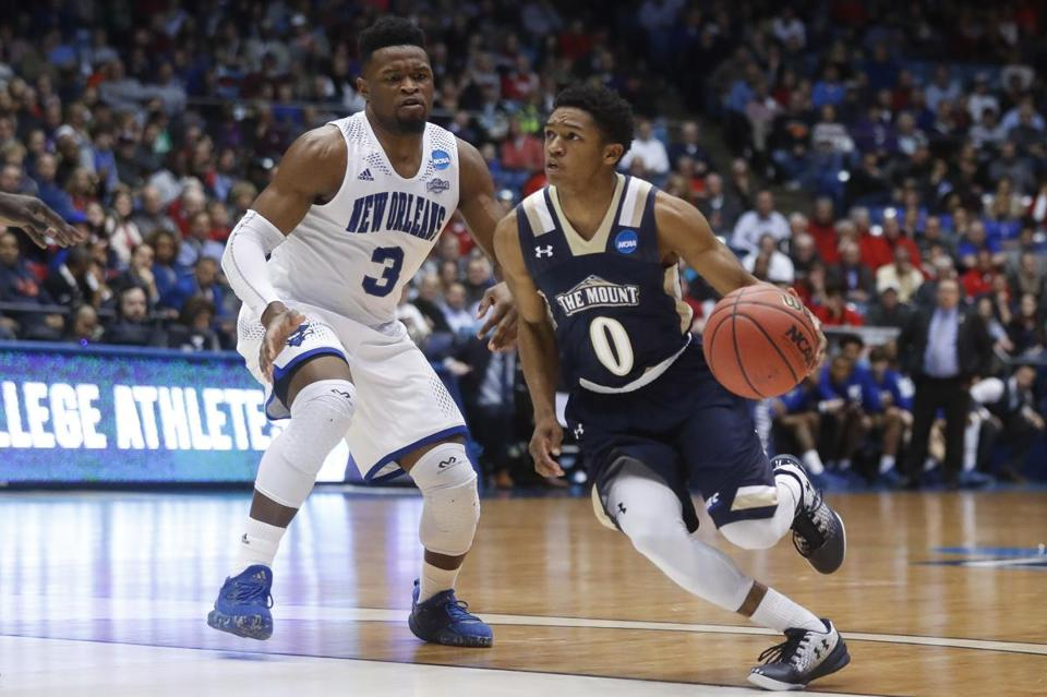 New Orleans' Nate Frye (3) defends against Mount St. Mary's Junior Robinson (0) in the second half of a First Four game of the NCAA college basketball tournament, Tuesday, March 14, 2017, in Dayton, Ohio. Mount St. Mary's won 67-66. (AP Photo/John Minchillo)