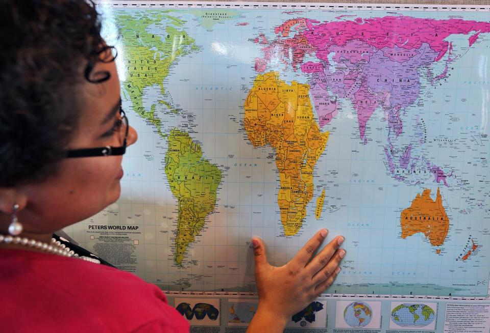 Boston schools ditch conventional world maps in favor of this one natacha scott showed the size of countries on a peters world map gumiabroncs Gallery