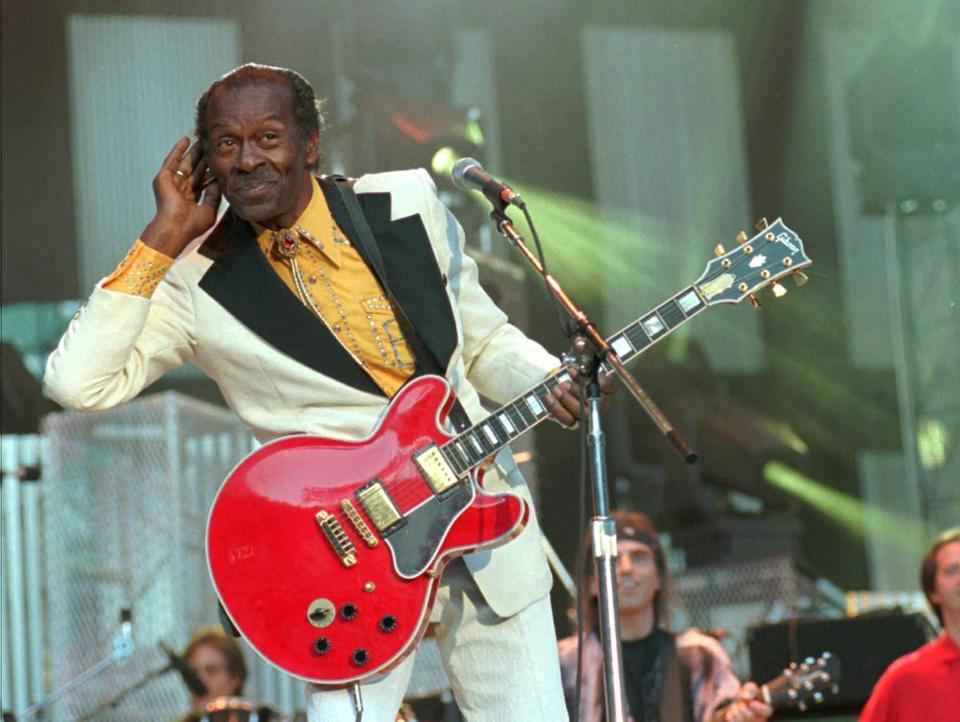 "Chuck Berry performed ""Johnny B. Goode"" in 1995 during the induction ceremony at the Rock and Roll Hall of Fame."