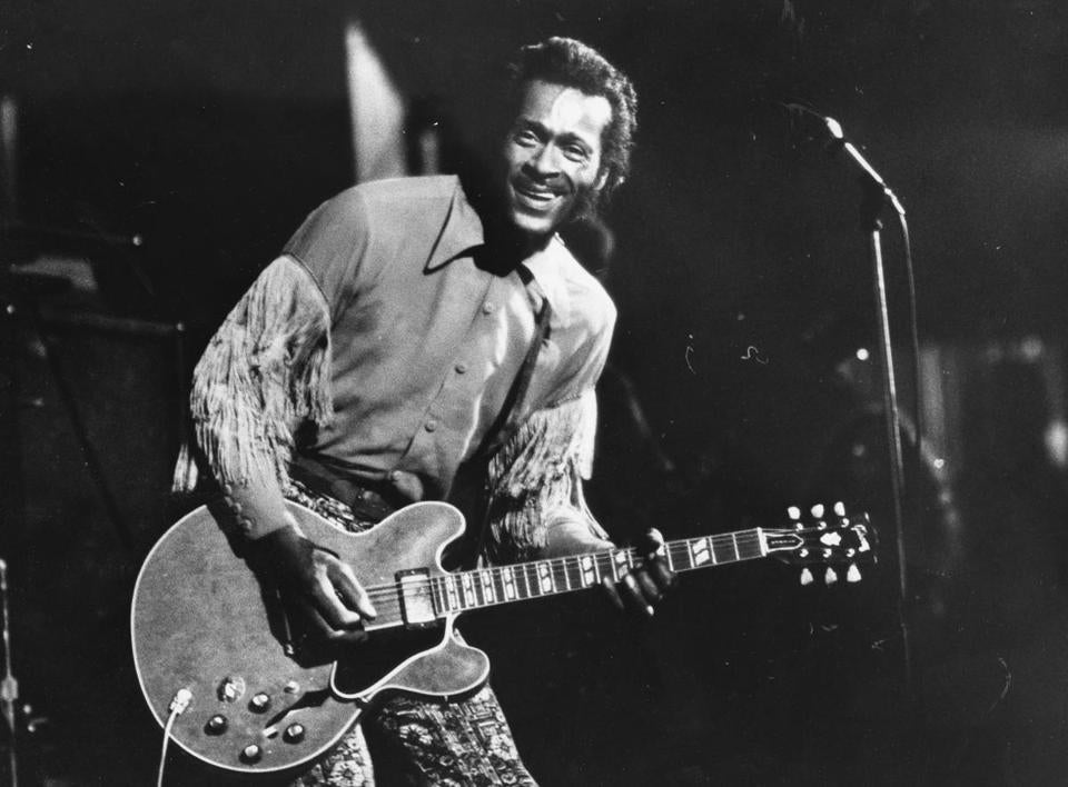 Chuck Berry during a concert in Boston in 1971.