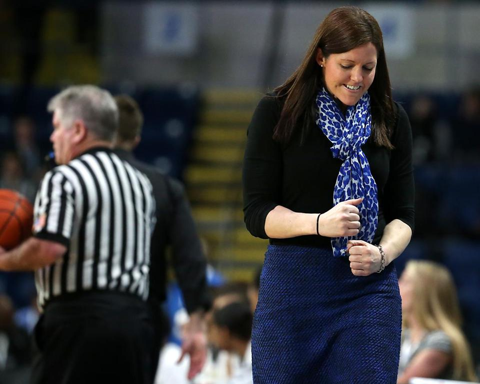 Springfield MA 3/18/17 Braintree High Wamps head coach Kristen McDonnell reacting to an officials call against Springfield Central Golden Eagles during second half action of the 2017 MIAA Girls Division 1a State Finals at MassMutual Center. (Photo by Matthew J. Lee/Globe staff) topic: reporter:
