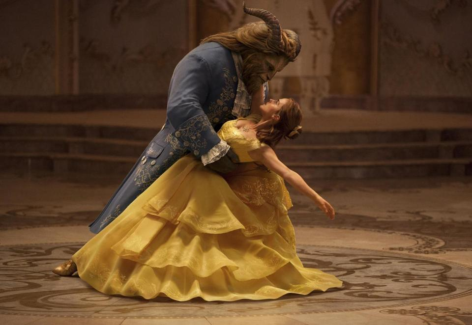 "Dan Stevens as The Beast and Emma Watson as Belle in the live-action adaptation of the animated Disney classic ""Beauty and the Beast.'"