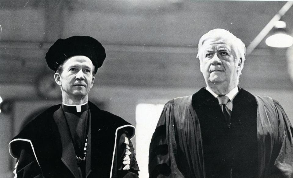 Father Monan (left) and O'Neill at the 1973 Boston College graduation.