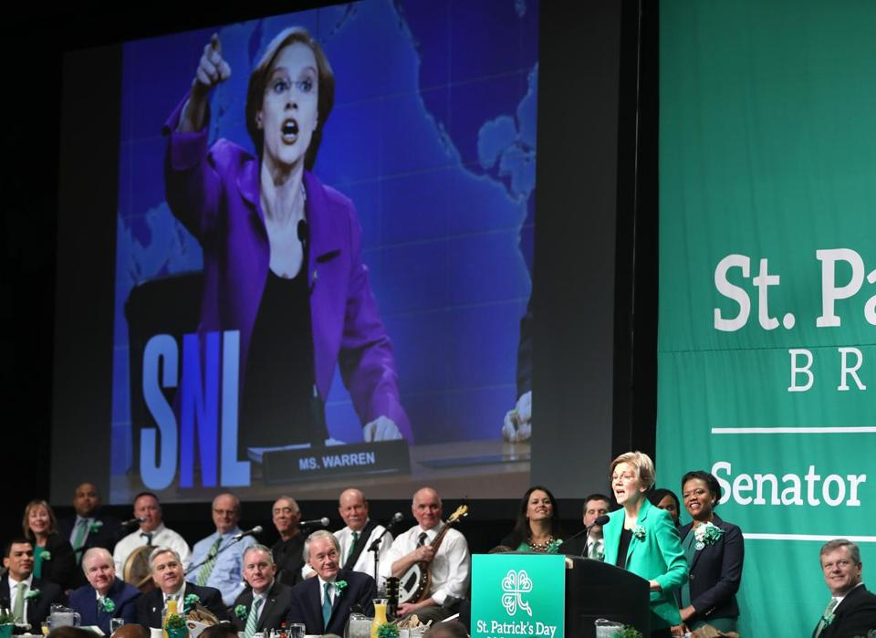 Boston, MA--3/19/2017 - U.S. Senator Elizabeth Warren (cq), quips about Saturday Night Live sketches. The St. Patrick's Day Breakfast (cq) is hosted by Senator Linda Dorcena Forry (cq). Photo by Pat Greenhouse/Globe Staff Topic: 20breakfast Reporter: Laura Krantz