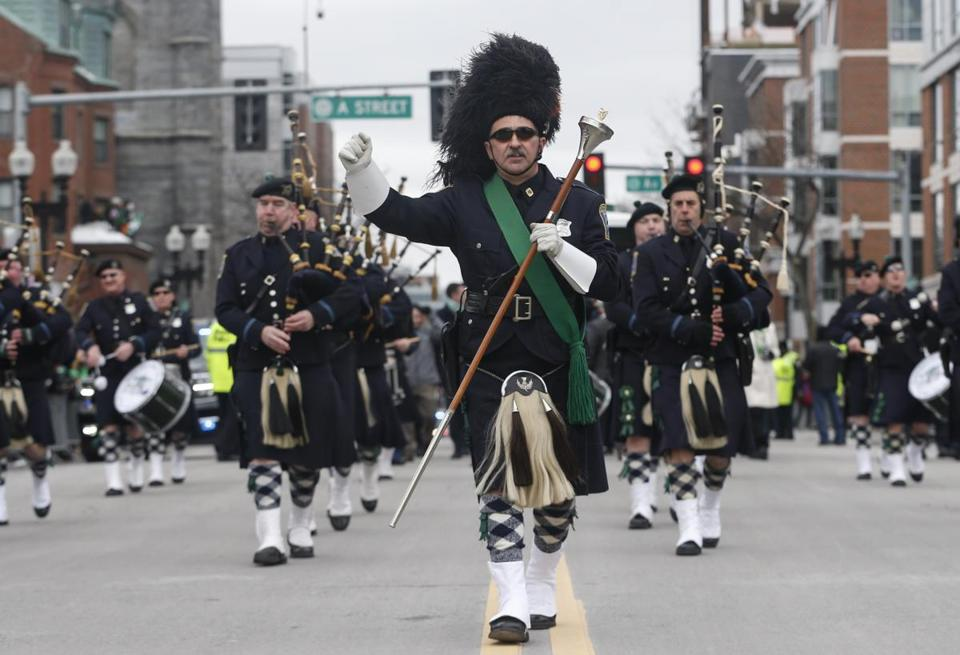 The Boston Police Pipes and Drums band.