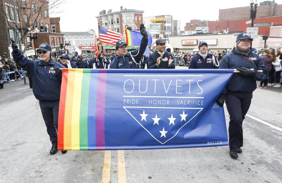 Members of OutVets marched along the route.