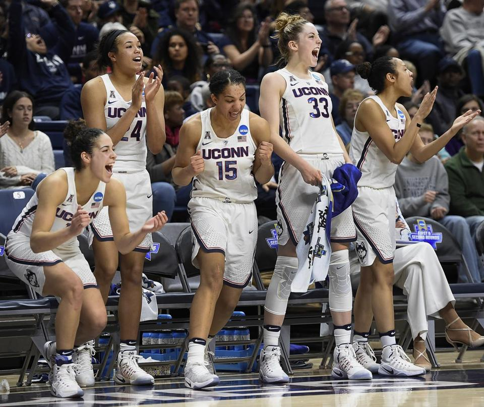 Connecticut's Kia Nurse, Napheesa Collier, Gabby Williams, Katie Lou Samuelson and Saniya Chong, from the left, react during the second half of a first round round of a women's college basketball game against Albany in the NCAA Tournament, Saturday, March 18, 2017, in Storrs, Conn. (AP Photo/Jessica Hill)