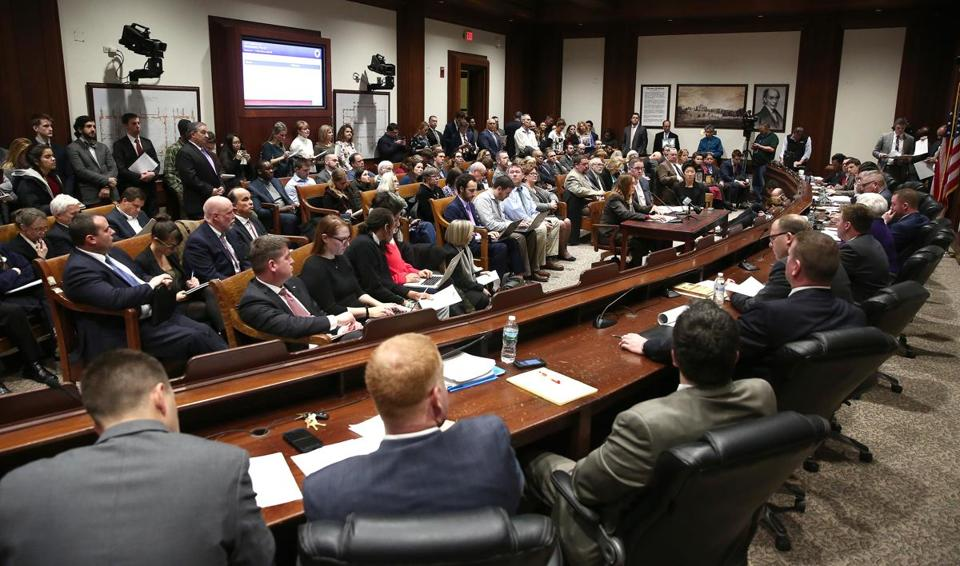 Boston, MA--3/20/2017 - The first to testify is Treasurer Deborah B. Goldberg (cq), left at small table. The Legislature's Joint Committee on Marijuana Policy holds its first public hearing at the State House. Photo by Pat Greenhouse/Globe Staff Topic: 21pothearing Reporter: Joshua Miller