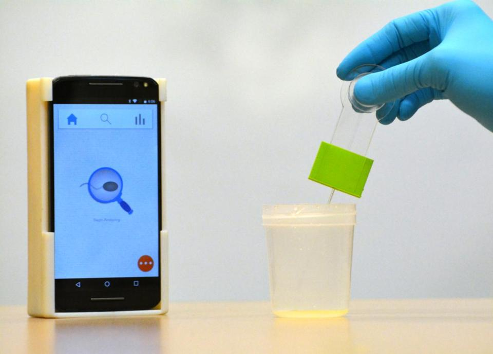 The smartphone-based semen analyzer can be used to test for male infertility from the privacy of home. The device can analyze most semen samples in less than 5 seconds. (Photo: Shafiee lab)