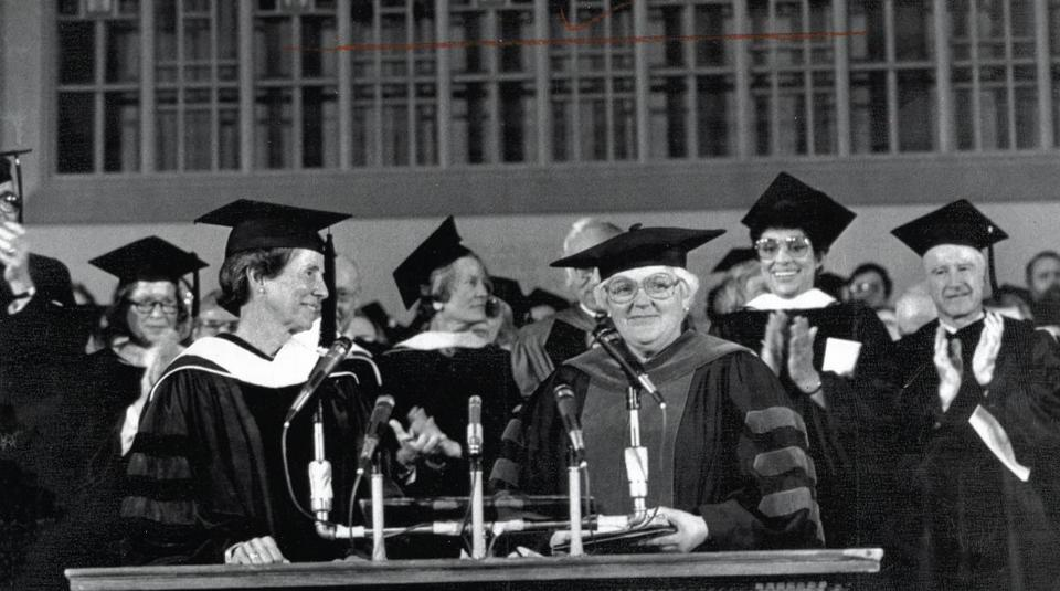 Dr. Dunn (right) at her inauguration as Smith College president in 1985.