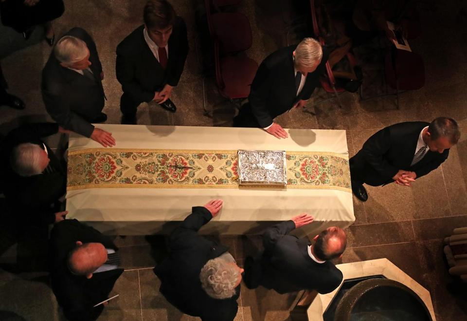 BOSTON, MA - 3/22/2017: Funeral for for Boston College's 24th and longest-serving president Rev. J. Donald Monan, SJ,. (1972-1996) The Mass will be celebrated at St. Ignatius Church (David L Ryan/Globe Staff Photo) SECTION: METRO TOPIC 23monan