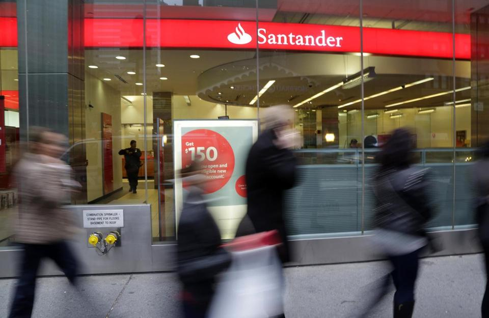 A Santander bank branch in New York.