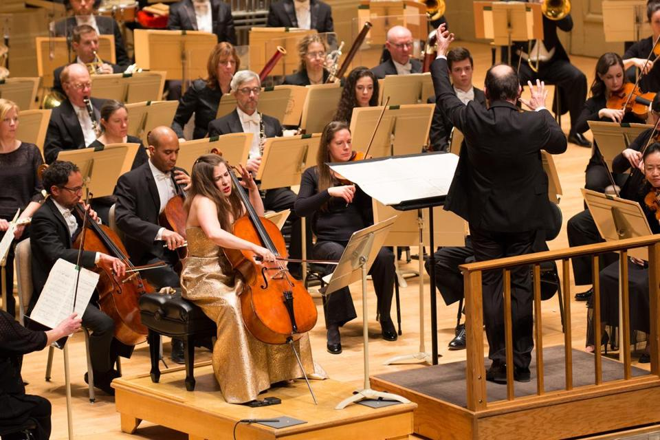 Cellist Alisa Weilerstein and guest conductor Francois-Xavier Roth performing with the Boston Symphony Orchestra Thursday night.