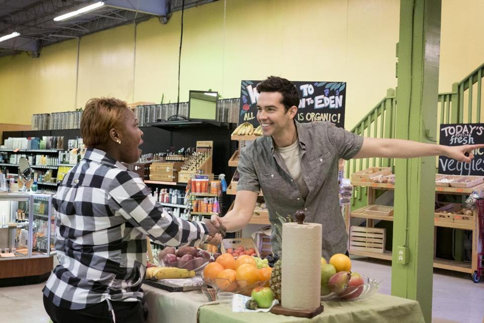 "Magician Michael Carbonaro pranks a shopper at a market on TruTV's ""The Carbonaro Effect."""