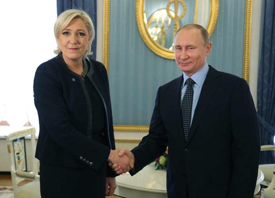 French far-right presidential candidate Marine Le Pen advocates closer ties with Vladimir Putin. They met in Moscow Friday.