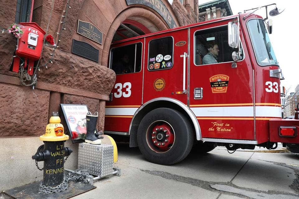 Engine 33 left for a call on the anniversary of the Beacon Street fire.