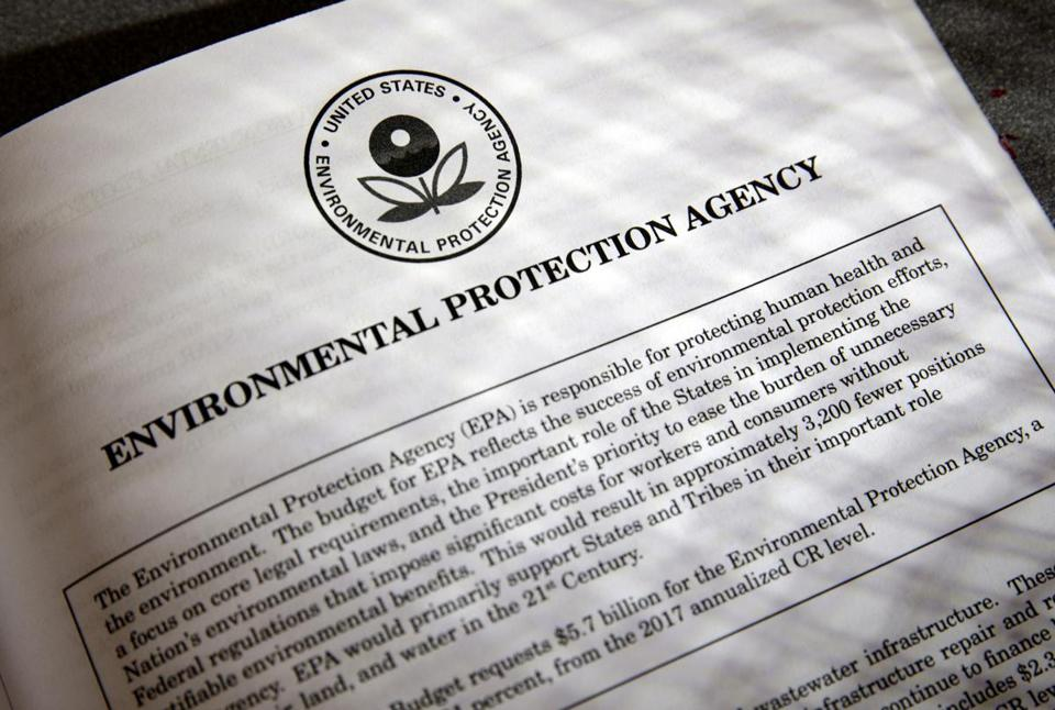 Proposals for the Environmental Protection Agency (EPA) in President Trump's first budget.