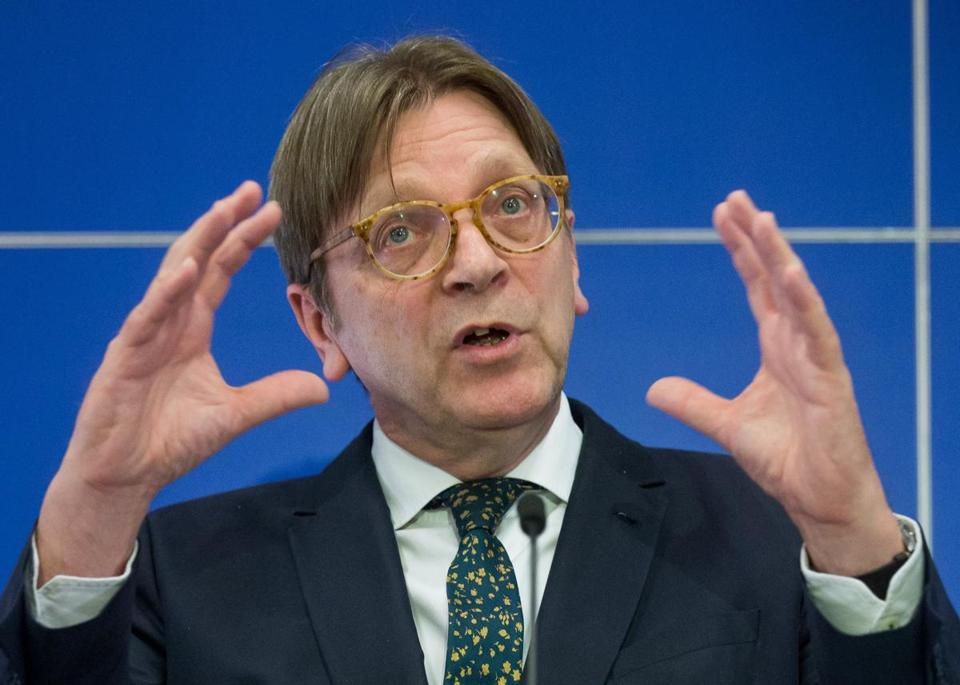 Guy Verhofstadt, European Parliament coordinator for Brexit, spoke during a joint press conference on March 29 at the EU Parliament in Brussels, Belgium.