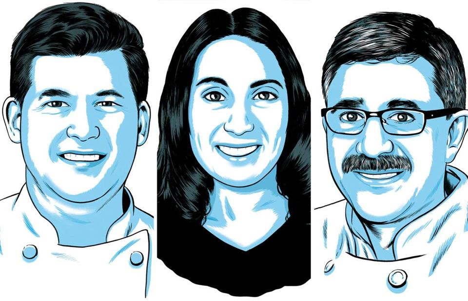 Some noted Johnson & Wales alumni who remain on the Providence restaurant scene, from left:  Champe Speidel ( '00, '16 Hon.) from Persimmon; Lia Bellini ('14) from Enoteca Umberto; Sanjiv Dhar ('90 MS) from Kabob & Curry.