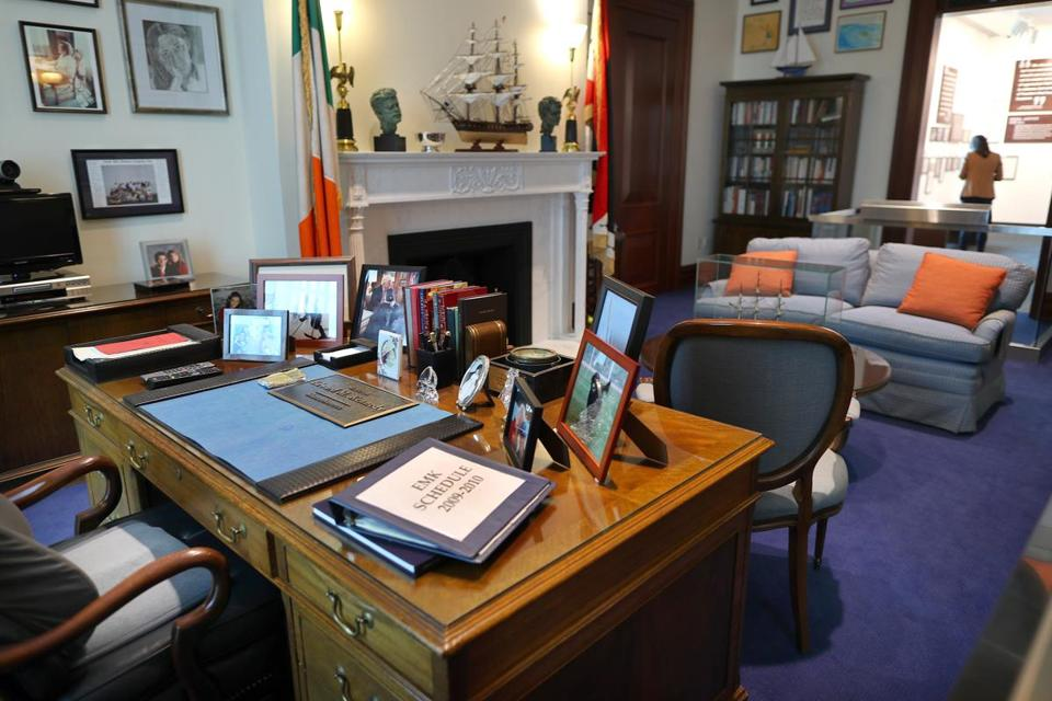 Boston-03/29/2017- The numbers of visitors are below expectations at the Edward Kennedy Institute. A replica of Kennedy's office in the Senate in Washington. John Tlumacki/Globe staff(metro)
