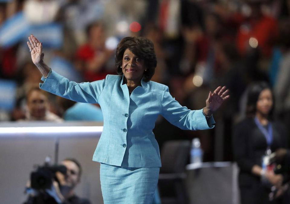 "FILE - In this July 27, 2016, file photo, U.S. Rep. Maxine Waters, D-Calif., takes the stage to speak during the third day of the Democratic National Convention in Philadelphia. Activist Brittany Packnett encouraged people to tweet under #BlackWomenAtWork Tuesday, March 28, 2017. It's a response to O'Reilly's comment Tuesday that Democratic U.S. Rep. Maxine Waters' hair was a ""James Brown wig."" He later apologized. (AP Photo/Paul Sancya, File)"