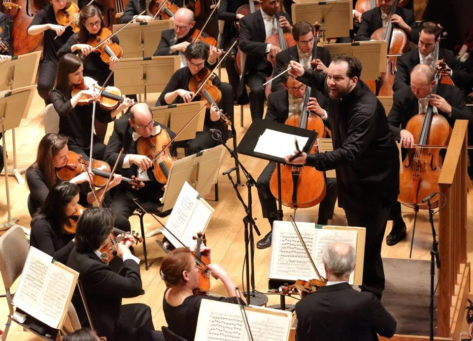 The Boston Symphony Orchestra, led by music director Andris Nelsons.