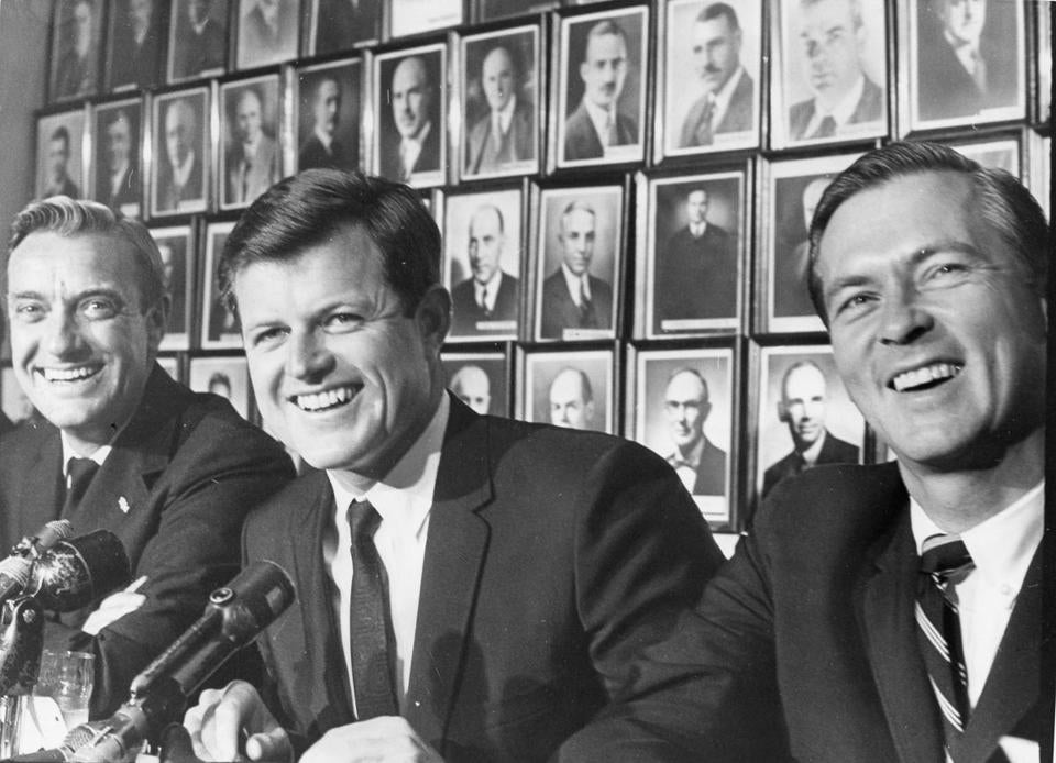 Senator Edward M. Kennedy (center) in 1966.