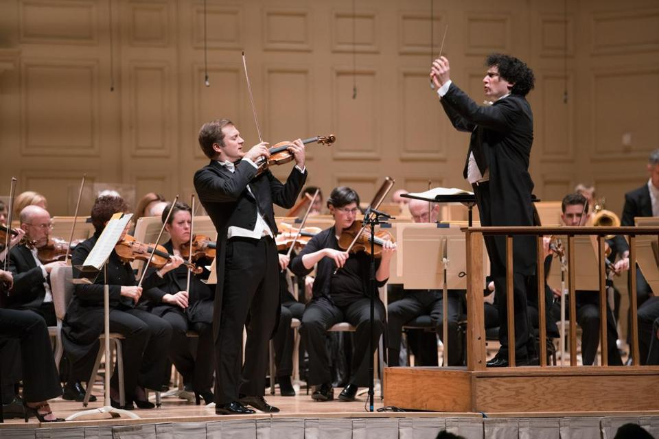 Guest conductor Alain Altinoglu leads the Boston Symphony Orchestra and violinist Renaud Capuçon at Symphony Hall Wednesday night.
