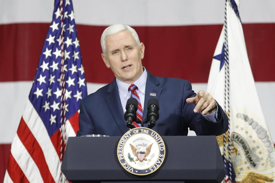 Vice President Mike Pence gives formal remarks at DynaLab, Inc., Saturday, April 1, 2017, in Reynoldsburg, Ohio. Pence visited with businesspeople at DynaLab, Inc., an American electronics manufacturing services company, and toured the facility before delivering remarks to news media. (AP Photo/John Minchillo)