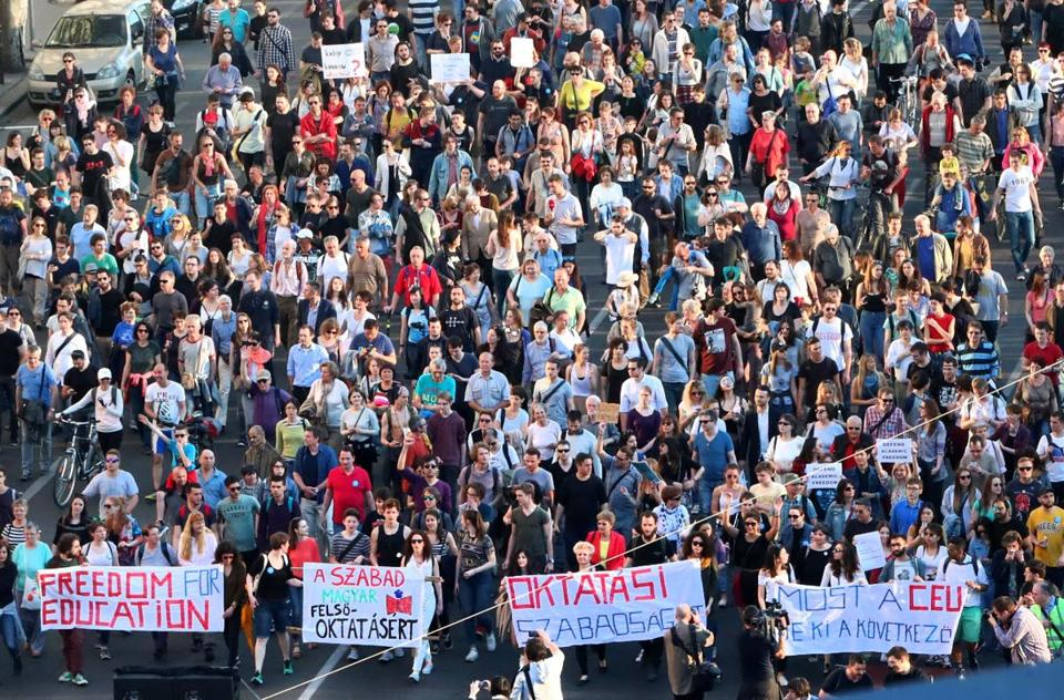 People rallied Sunday in Budapest in support of Central European University.