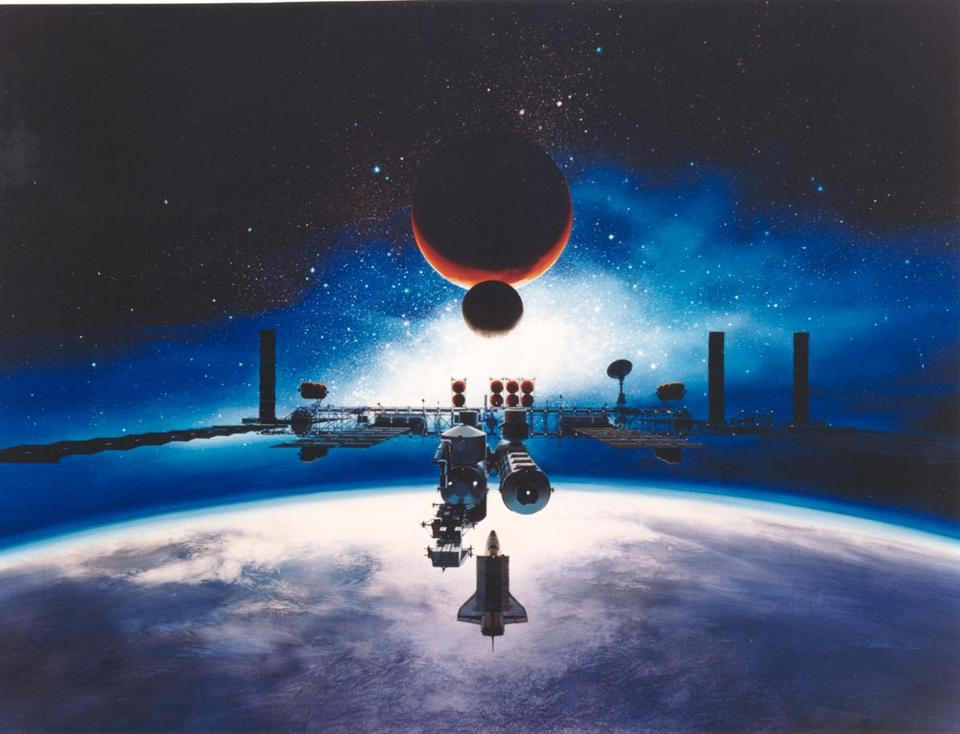 Alan Chinchar's 1991 rendition of the Space Station Freedom in orbit. The painting depicts the completed space station. Earth is used as the image's backdrop with the Moon and Mars off in the distance. Freedom was to be a permanently crewed orbiting base to be completed in the mid 1990's. It was to have a crew of 4. Freedom was an attempt at international cooperation that attempted to incorporate the technological and economic assistance, of the United States, Canada, Japan, and nine European nations. The image shows four pressurized modules (three laboratories and a habitat module) and six large solar arrays which were expected to generate 56,000 watts of electricity for both scientific experiments and the daily operation of the station. Space Station Freedom never came to fruition. Instead, in 1993, the original partners, as well as Russia, pooled their resources to create the International Space Station.