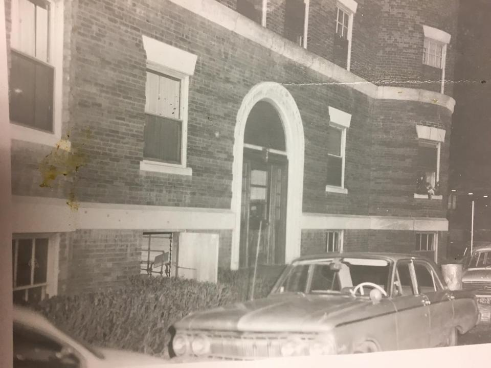 This police photo shows the outside of Jane Britton's apartment building near Harvard Square shortly after she was found dead in January 1969.