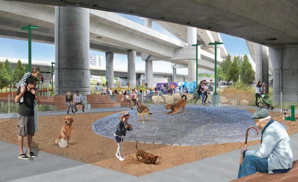 RENDERING info from source: InkUnderground_dog park(CREDIT: MassDOT/Landing Studio)