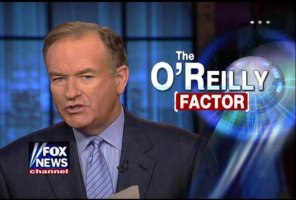 "Bill O'Reilly on his show, ""The O'Reilly Factor."""