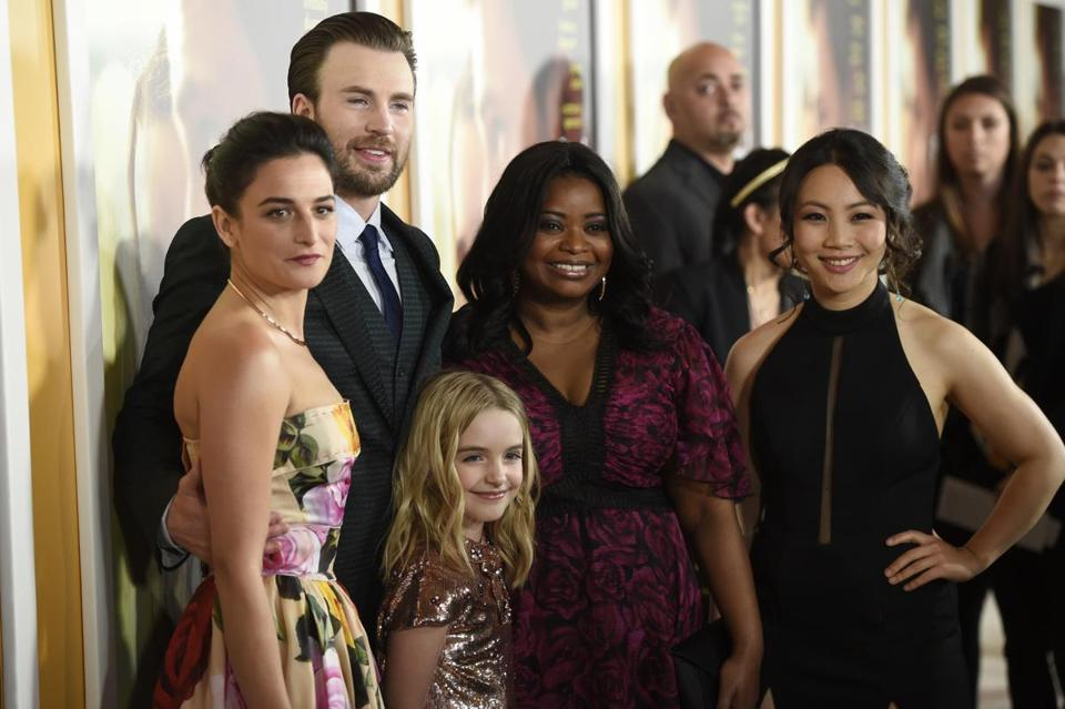 "From left: Jenny Slate, Chris Evans, Mckenna Grace, Octavia Spencer, and Jona Xiao in April at the Los Angeles premiere of ""Gifted."""