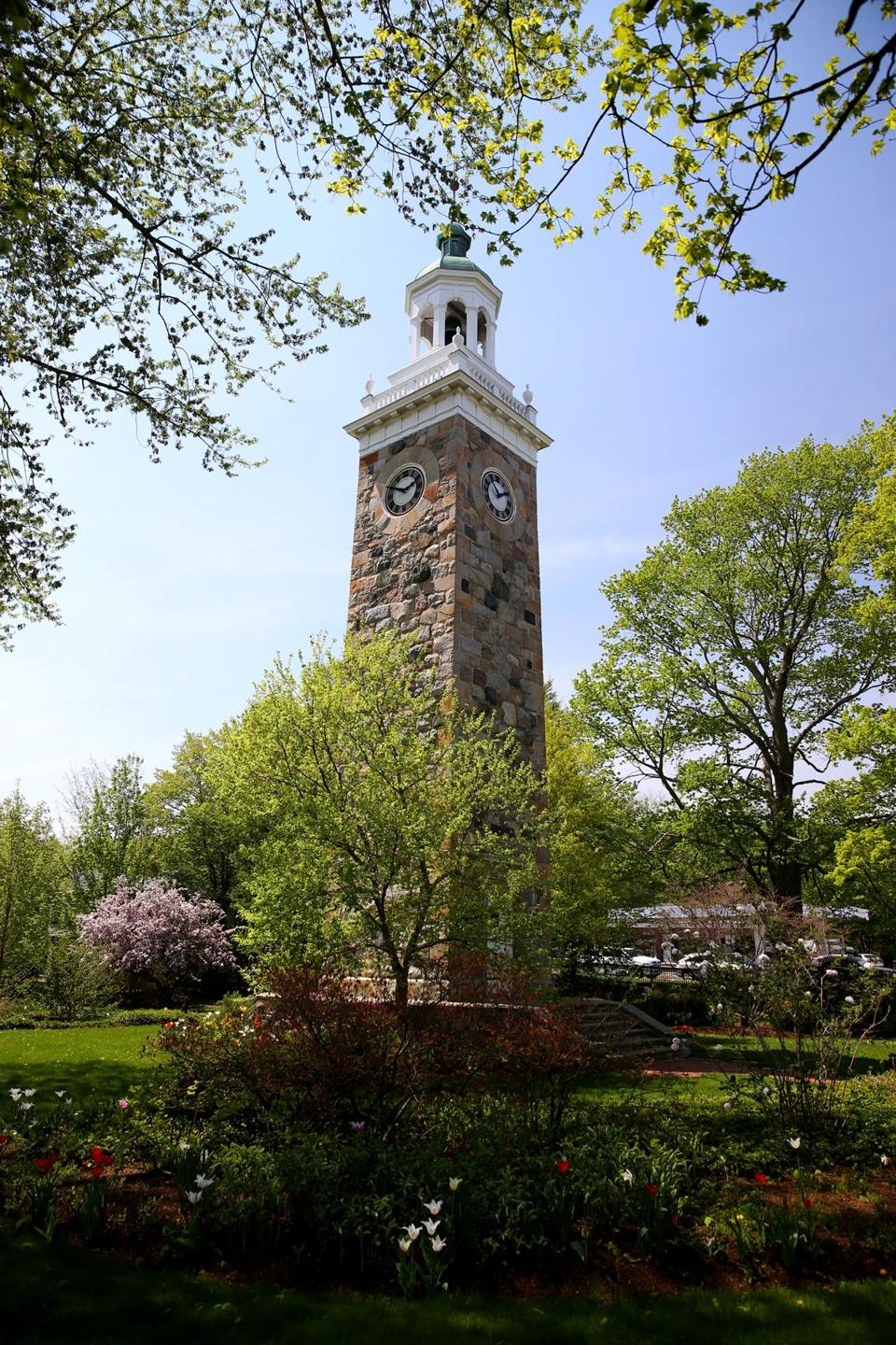 Wellesley Ma 05/09/2015 The town of Wellesley Sprague Memorial Clock Tower. .Staff/Photographer Jonathan Wiggs Topic: Reporter