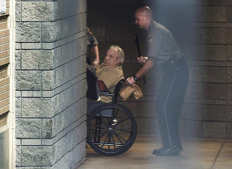 In this April 20, 2015 file photo, Robert Gentile is brought into the federal courthouse in a wheelchair for a hearing in Hartford, Conn.
