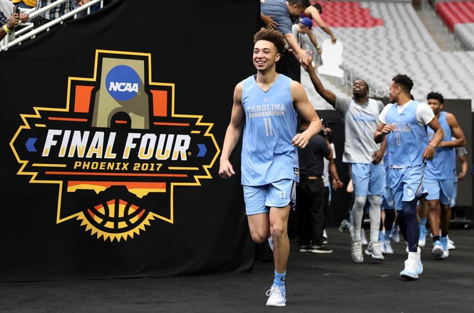 Shea Rush, of the North Carolina Tar Heels, took the court with teammates for practice ahead of the 2017 NCAA Final Four on March 31.