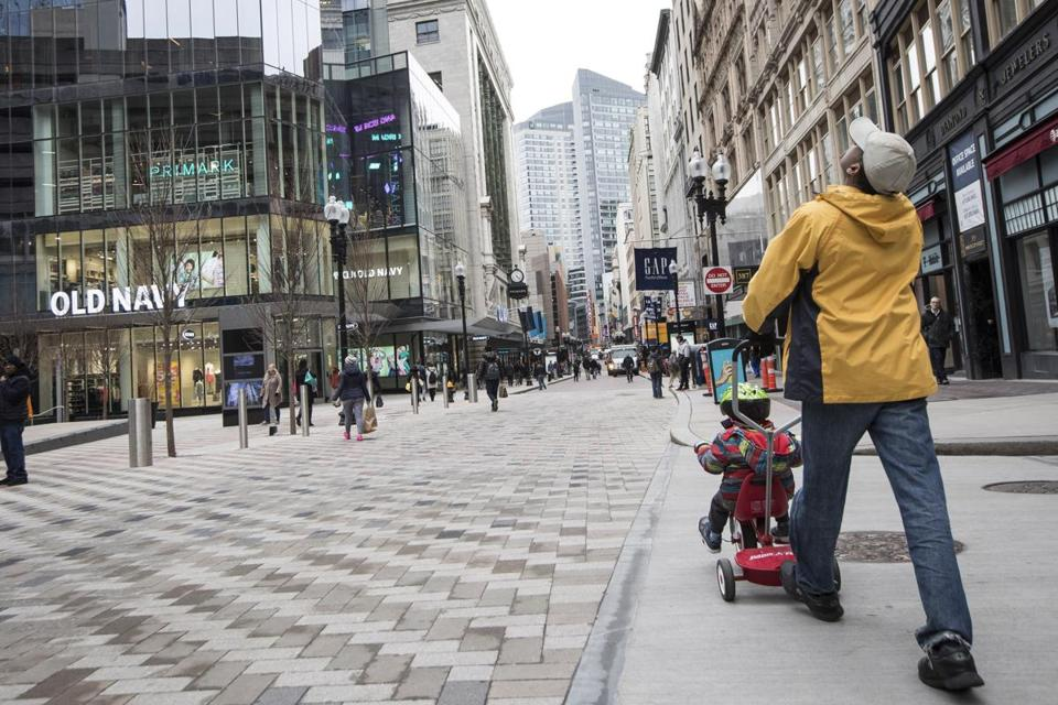 Sidewalk traffic in Downtown Crossing has been measured at about 250,000 people per day.
