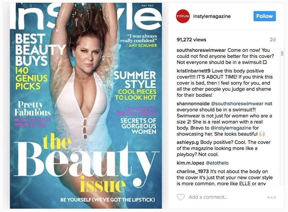 InStyle's Instagram of its May magazine cover featuring Amy Schumer.