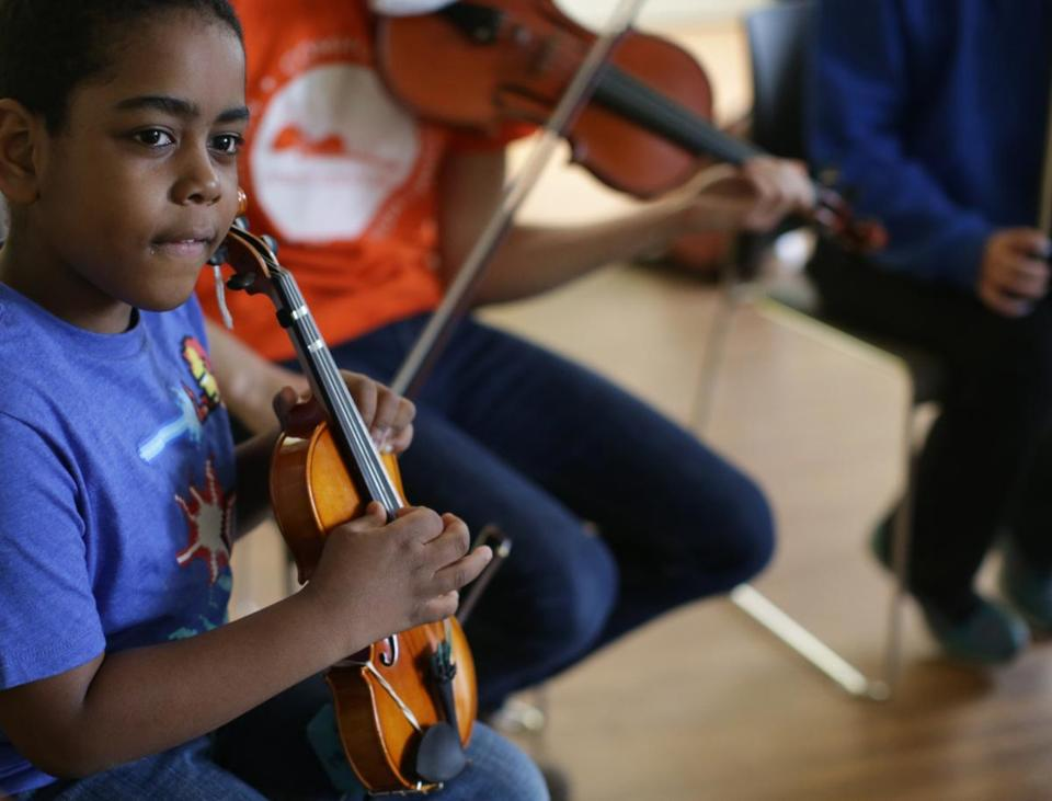 Galvin Joseph was among the students taking part in a recent musiConnects program at the Lena Park Community Center.
