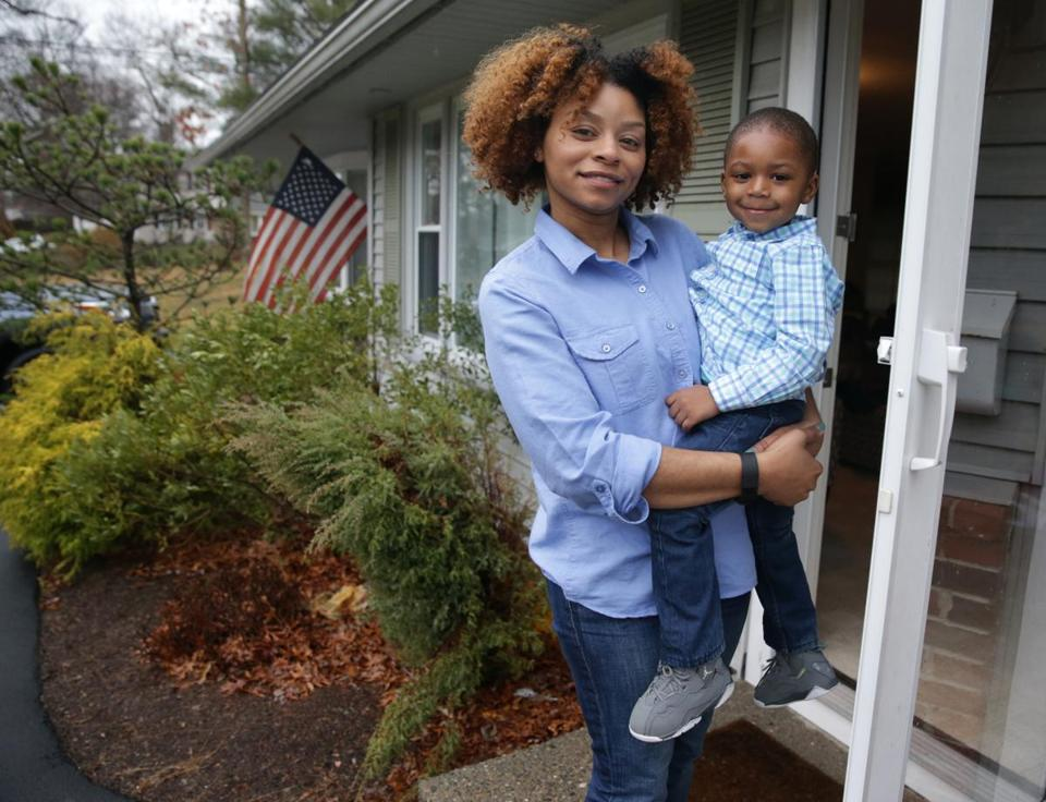 Naomi Cordova, a first-time homeowner, lives in a four-bedroom ranch-style home in Brockton with her 2-year-old son Ethan Studmire.