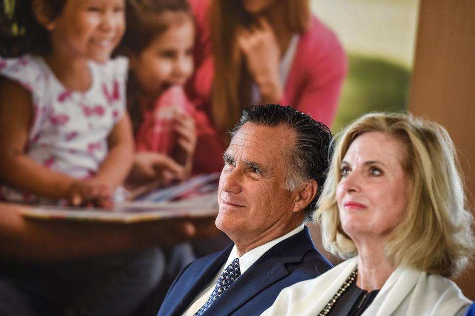 Mitt Romney and Ann Romney attended the press presentation of a newly constructed Mormon temple near Paris in March 2017.
