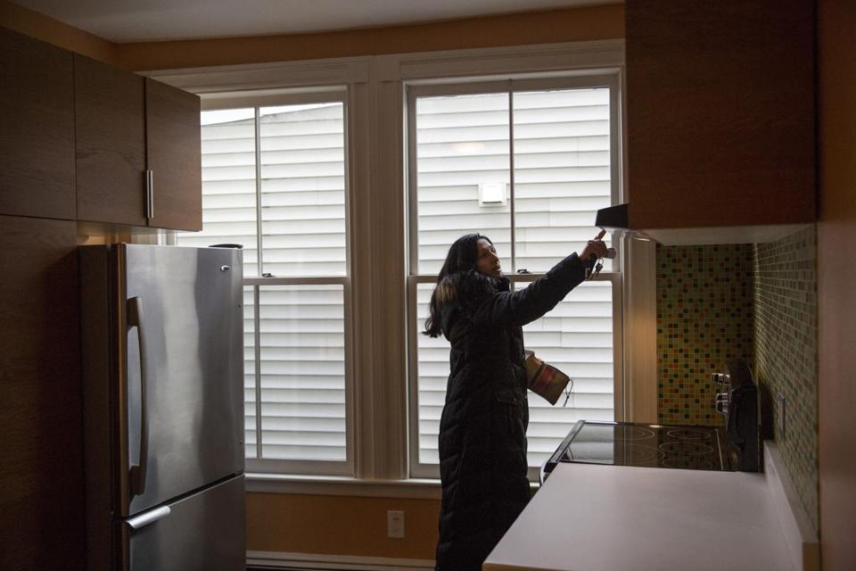 April 7, 2017 | Somerville, MA Carlina Nabatoff, co-owner of Abundant Real Estate Group, out of Keller Williams Cambridge, shows two apartments for rent in Somerville where the owners did kitchen rennovations in order to be able to compete in a market where renters are gravitating to new construction and more amenities. Kieran Kesner for The Boston Globe.