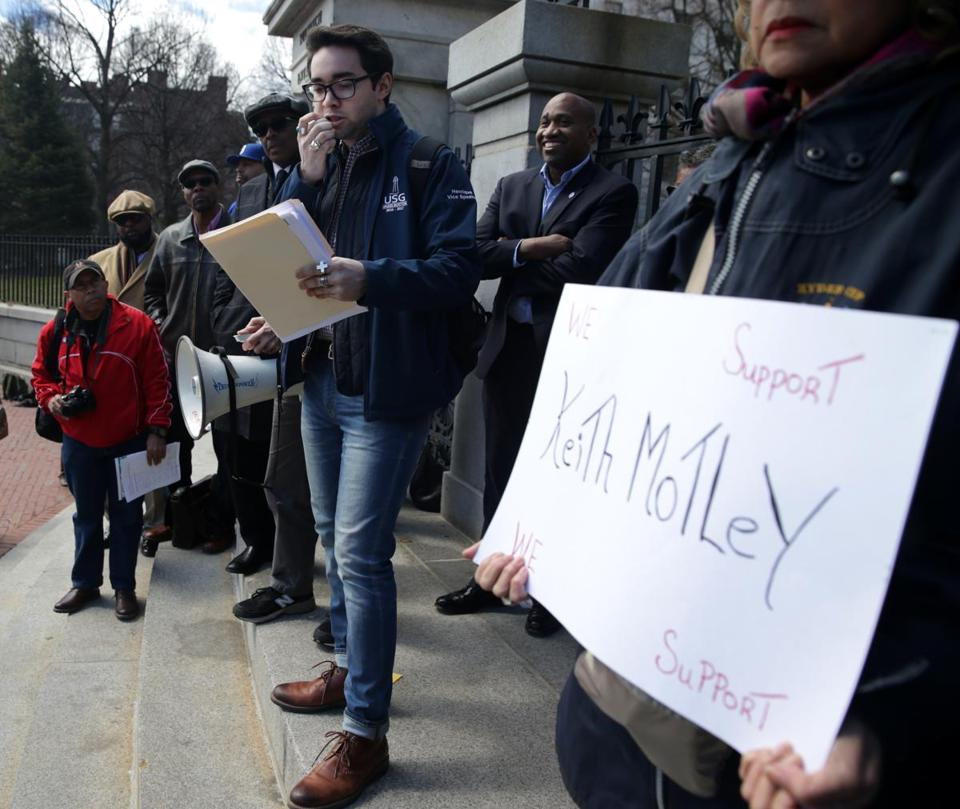 Lucas Henrique, a student senator at UMass Boston, attended a rally in support of the school's chancellor on the steps of the State House on Saturday.