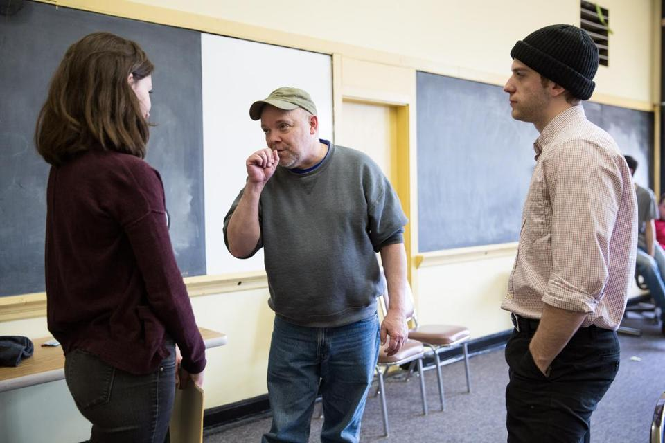 "Director Burgess Clark (center), rehearsing ""One Flew Over the Cuckoo's Nest"" with Boston Children's Theatre in April, is at the center of a controversy over nudity in the production."