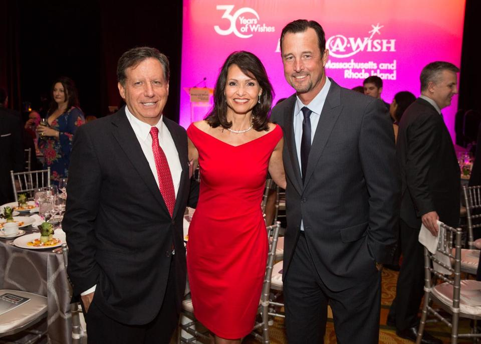 Tom Werner, Liz Brunner, and Tim Wakefield at the Make-A-Wish celebration.