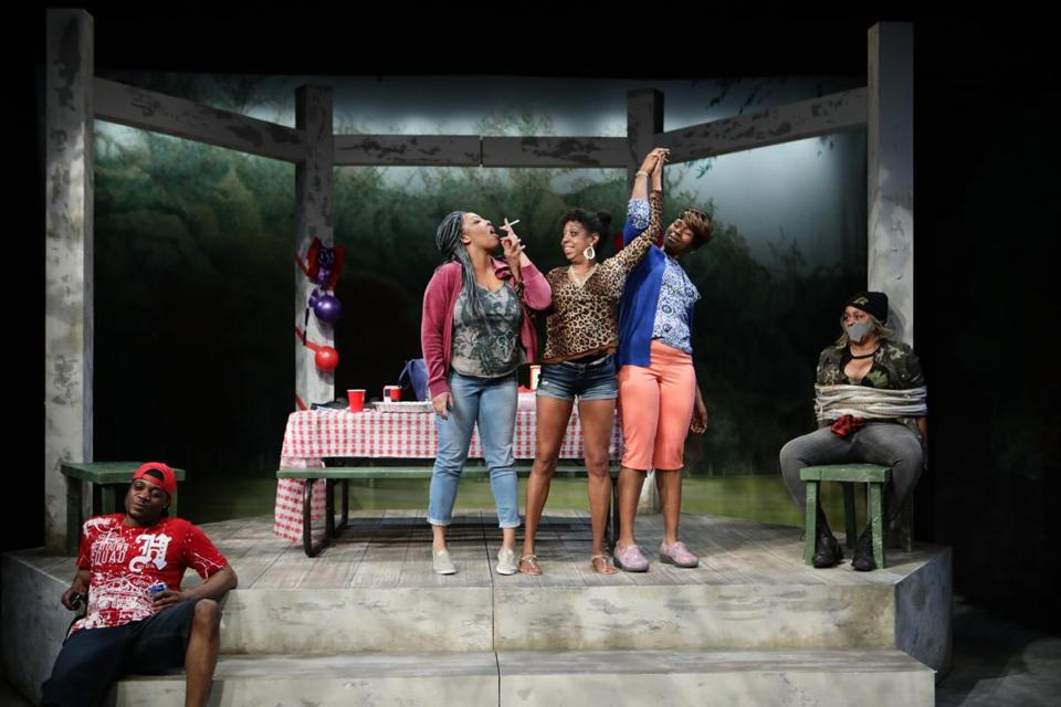 "James R. Milord, Lyndsay Allyn Cox, Jackie Davis, Jasmine Rush, and Ramona Lisa Alexander in ""Barbecue"" at the Lyric Stage Company."
